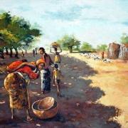 yvo moussa: route du marché, 81x65cm