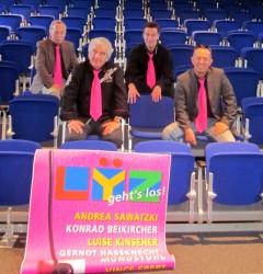 Sie stellten jetzt das neue Programm im Kulturhaus Lÿz vor: Hans Hoppe, Wolfgang Suttner, Patrick Zöller und Andreas Schmidt